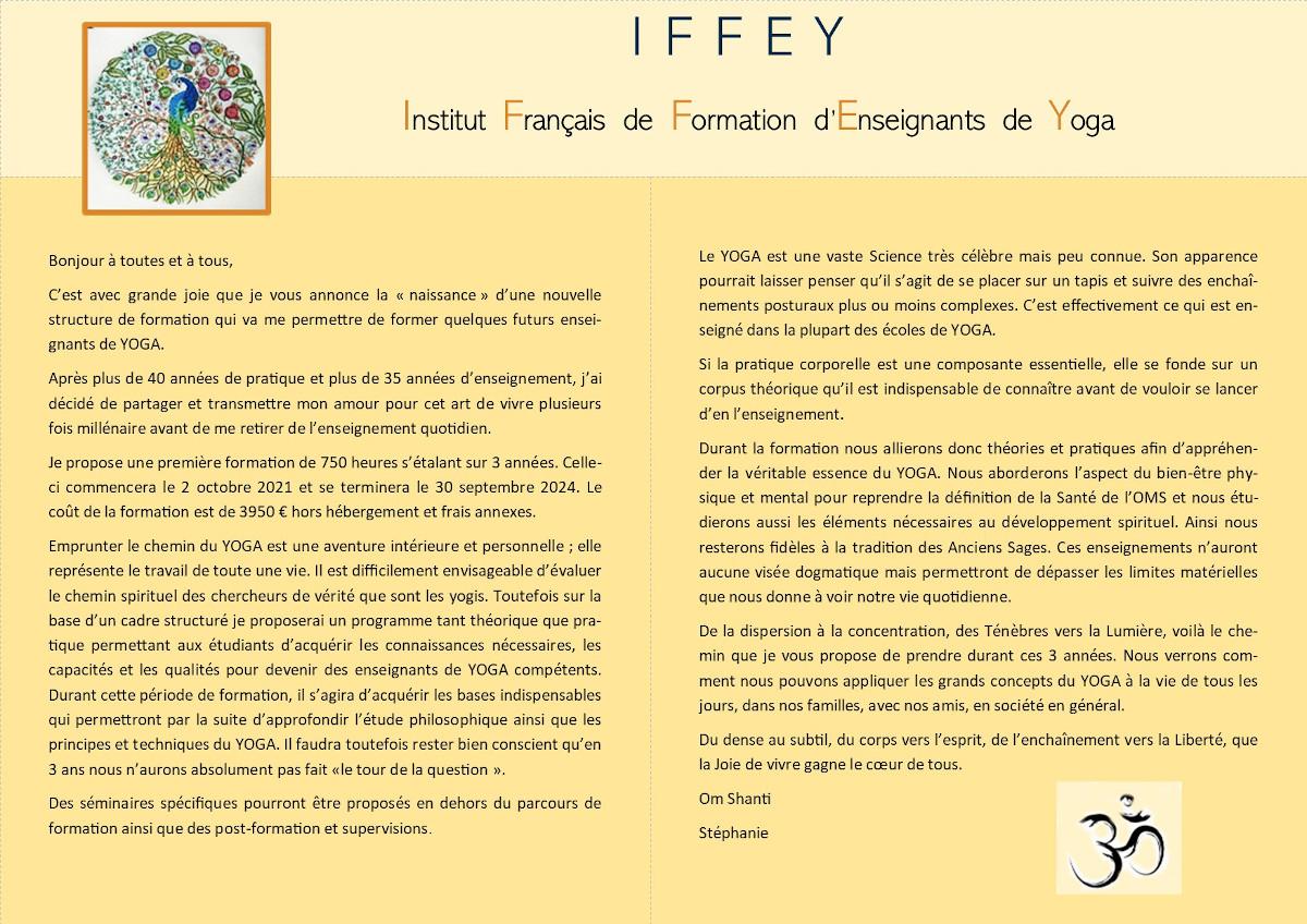Présentation de la formation d'enseignant de yoga iffey