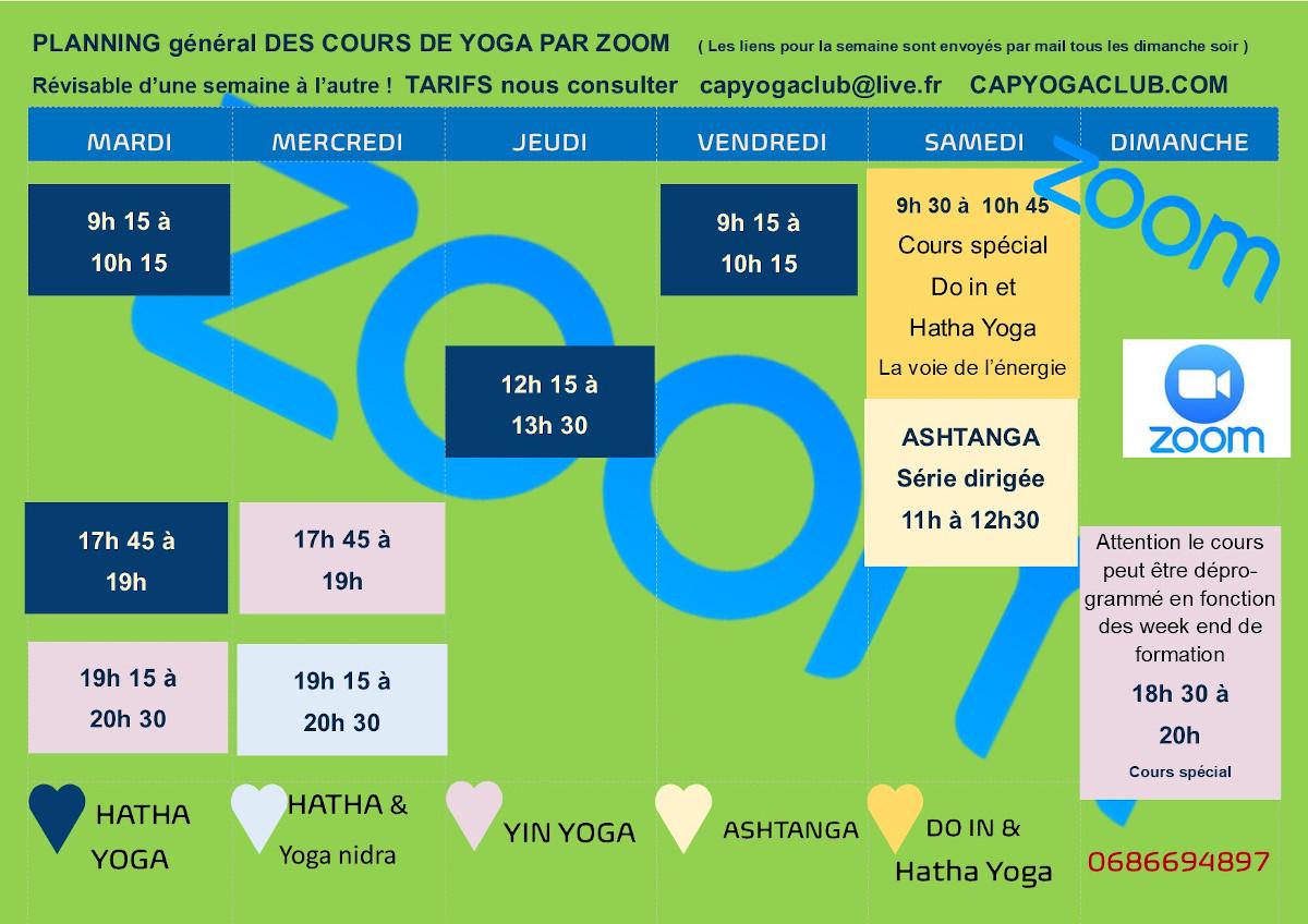 planning cours en ligne cap yoga club 2021/2022