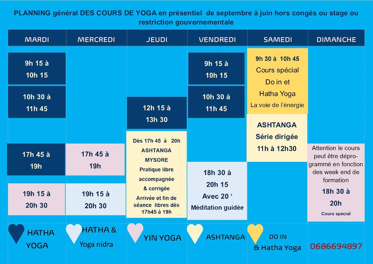 planning cours yoga présentiels 2021/2022